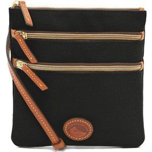 Dooney Black Nylon South Triple Zip Crossbody Bag